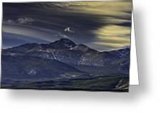Painted Sky Over Longs Peak Greeting Card by Tom Wilbert