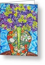 Painted Vase With Hydrangeas Greeting Card by Deborah Glasgow