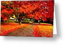 Painterly Autumn Path Greeting Card