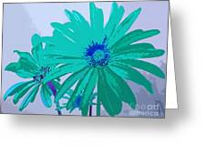 Painterly Flowers In Teal And Blue Pop Art Abstract Greeting Card