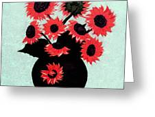 Painterly Red Sunflowers With Purple Greeting Card