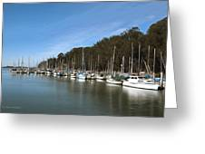Painting Bay Side Harbor Greeting Card