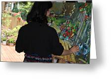 Painting My Backyard 2 Greeting Card by Becky Kim