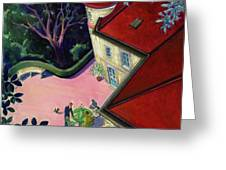 Painting Of A House With A Patio Greeting Card