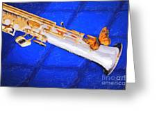 Painting Of A Soprano Saxophone And Butterfly 3352.02 Greeting Card