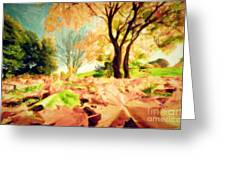 Painting Of Autumn Fall Landscape In Park Greeting Card