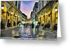 Old City Of Corfu During Dusk Time Greeting Card