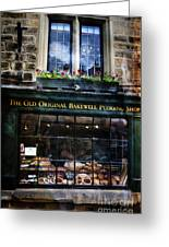 Can You See The Ghost In The Top Window At The Old Original Bakewell Pudding Shop Greeting Card