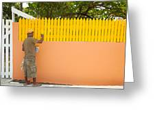 Painting The Fence Greeting Card