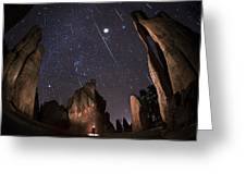 Painting The Needles Under The Geminids Meteor Shower Greeting Card by Mike Berenson