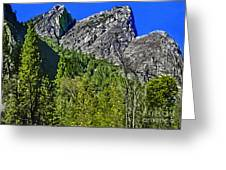 Painting Three Brothers Peaks Yosemite Np Greeting Card