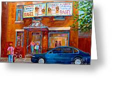 Paintings Of Montreal Fairmount Bagel Shop Greeting Card by Carole Spandau