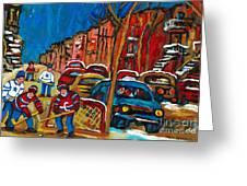 Paintings Of Montreal Hockey City Scenes Greeting Card