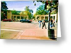 Paintings Of Roddick Gates Entrance Mcgill Campus  From Sherbrooke Towards The Mountain Cspandau Art Greeting Card