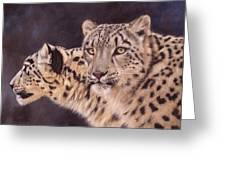 Pair Of Snow Leopards Greeting Card