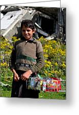 Pakistani Boy In Front Of Hotel Ruins In Swat Valley Greeting Card