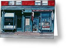 Palace Barber Shop And Lees Candy Store Greeting Card
