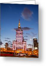 Palace Of Culture And Science At Dusk In Warsaw Greeting Card