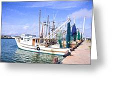 Palacios Texas Shrimp Boat Lineup Greeting Card