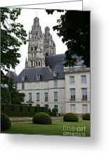 Palais In Tours With Cathedral Steeple Greeting Card