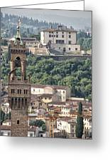 Palazzo Vecchio Tower And Forte Belvedere Greeting Card