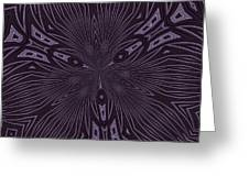 Pale Aubergine And Eggplant Abstract Pattern Kaleidoscope Greeting Card