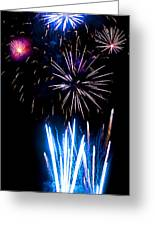 Pale Blue And Red Fireworks Greeting Card