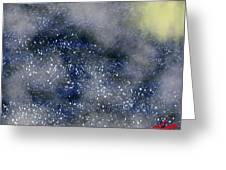 Pale Moon At Sea Greeting Card