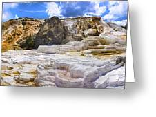 Palette Spring Terrace Panorama - Yellowstone National Park Wyoming Greeting Card