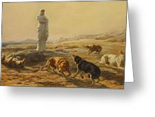 Pallas Athena And The Herdsmans Dogs Greeting Card