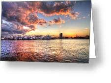 Palm Beach Harbor With West Palm Beach Skyline Greeting Card by Debra and Dave Vanderlaan