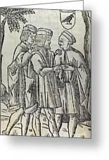 Palm Reading, 16th Century Artwork Greeting Card