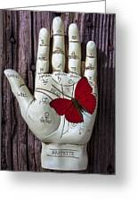 Palm Reading Hand And Butterfly Greeting Card
