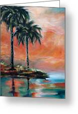 Palm Refection Sunset Greeting Card