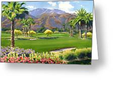 Palm Springs Golf Course With Mt San Jacinto Greeting Card by Mary Helmreich