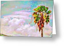 Palm Tree Against Pastel Sky - Square Greeting Card