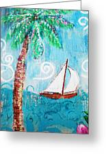 Palm Tree And Sailboat By Jan Marvin Greeting Card