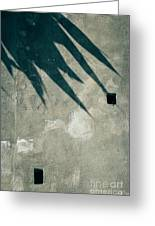 Palm Tree Shadow On Wall With Holes Greeting Card