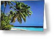 Palm Trees On Little Palm Island Filtered Greeting Card