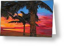 Palme Al Tramonto Greeting Card