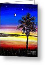 Palmetto Sunset Moon And Stars Greeting Card