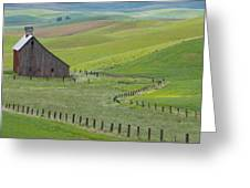 Palouse Barn And Fence Greeting Card