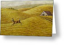 Palouse Farm Whitetail Deer Greeting Card by Crista Forest