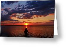 Pamlico Sound Hatteras Island Sunset 3 5/10 Greeting Card