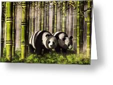 Pandas In A Bamboo Forest Greeting Card