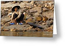 Panning For Gold Mekong River 1 Greeting Card