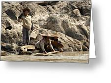 Panning For Gold Mekong River 2 Greeting Card