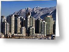 Pano Vancouver Snowy Skyline Greeting Card by David Smith