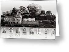 Panorama Alcatraz Infamous Inmates Black And White Greeting Card