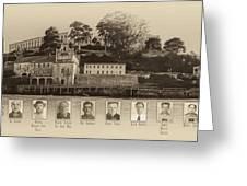 Panorama Alcatraz Infamous Inmates Sepia Greeting Card